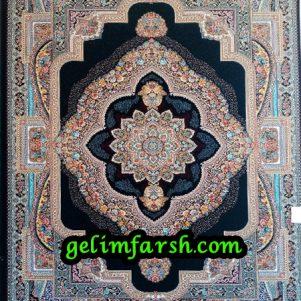 قیمت فرش ماشینی 700 شانه طرح باغ معلق سرمه ای