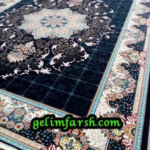 فرش ماشینی 700 شانه طرح هیوا سرمه ای 10 رنگ