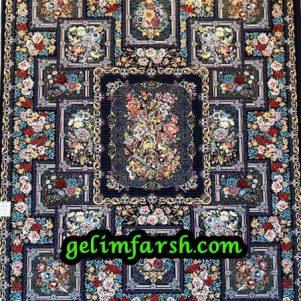 فرش طرح باغ بهرنگ سرمه ای
