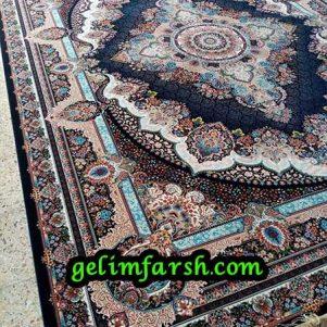 قیمت فرش ماشینی 1000 شانه طرح دیبا سرمه ای