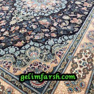 قیمت فرش ماشینی 1000 شانه طرح استانبول سرمه ای