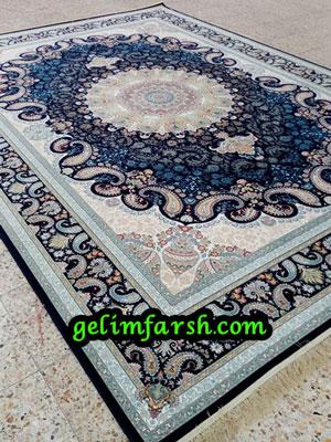 قیمت فرش ماشینی 1000 شانه طرح نهال سرمه ای