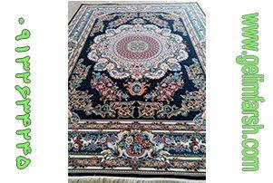 فرش ماشینی کاشان طرح فرانسوی سرمه ای