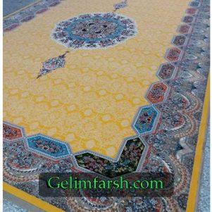 فرش ماشینی کاشان طرح هالیدی زرد