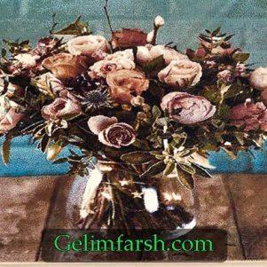 تابلو فرش ماشینی طرح گل و گلدان کد 17