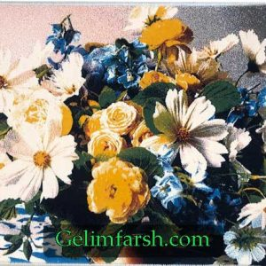 تابلو فرش ماشینی طرح گلدان