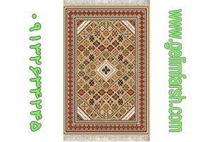 گلیم فرش طرح طوبی بادامی کد 218