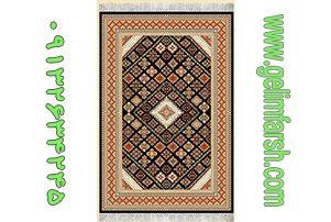 گلیم فرش طرح طوبی مشکی کد 219