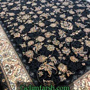 فرش گل برجسته طرح شهریار سرمه ای 700 شانه