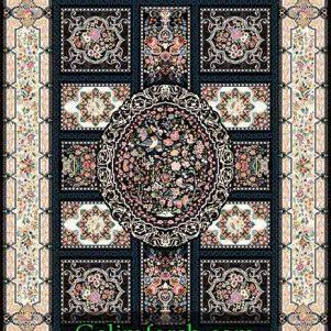 فرش گل برجسته قاب آینه سرمه ای 700 شانه