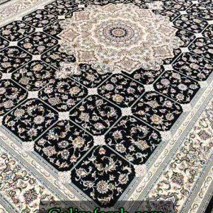 فرش گل برجسته همتا سرمه ای 700 شانه