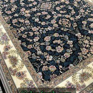 فرش گل برجسته شاهان سرمه ای 700 شانه