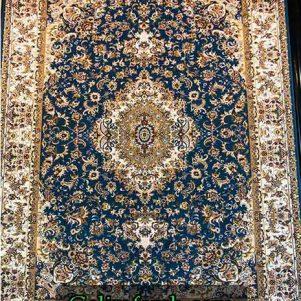 فرش گل برجسته تبریز آبی کاربنی 700 شانه