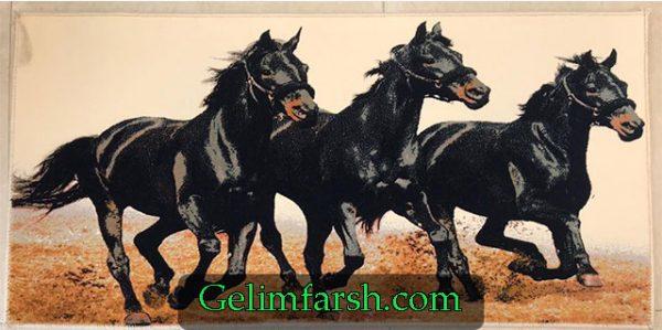 تابلو فرش ماشینی حیوان طرح اسب مشکی کد 92