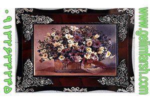 تابلو فرش ماشینی طرح گل و گلدان کد 65