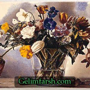 تابلو فرش ماشینی طرح گلدان کد 66