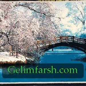 تابلو فرش ماشینی منظره زمستان کد 117