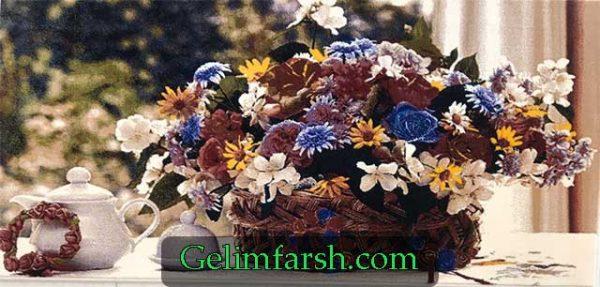 تابلو فش ماشینی گل و گلدان طرح سبد گل کد 122
