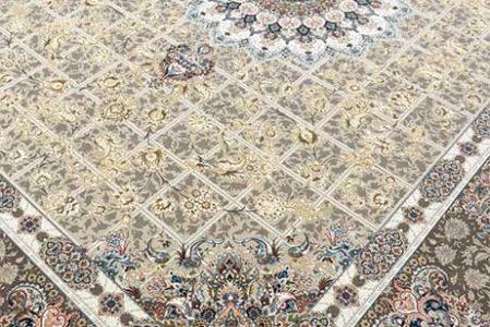 فرش ماشینی 1200 شانه پیچک بادامی