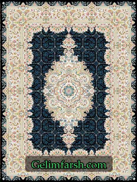 فرش گل برجسته یاسین سرمه ای 700 شانه