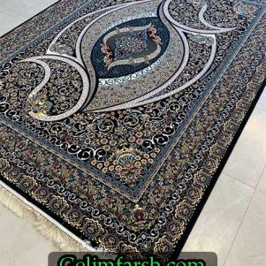 زیباترین فرش ماشینی طرح سناتور سرمه ای
